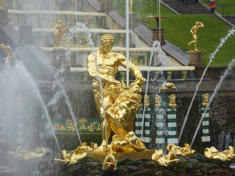 Close up of the central gold Lion sculpture of the Samson Fountain