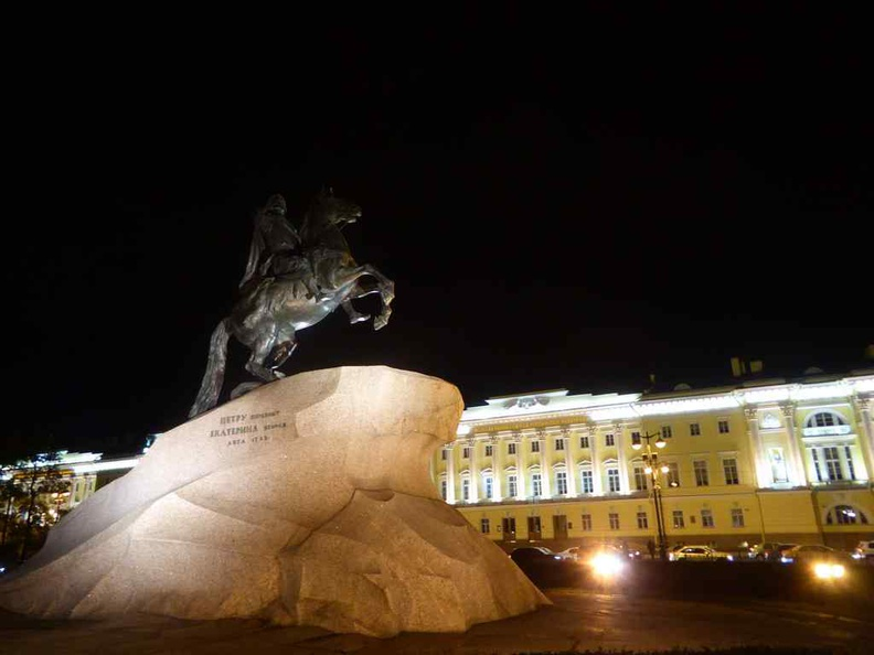 The Bronze Horseman sculpture at night
