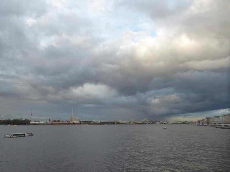 The Neva river with Paul fortress in view in the distance. The island fortress is walkable too, connected via a series of road bridges