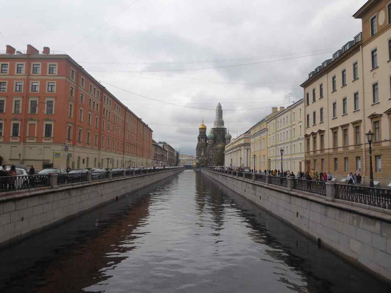Griboyedov canal leading up to the Cathedral Savior on the Spilled Blood