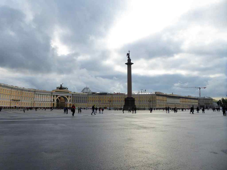 The Alexander Column at the Palace square on a cloudy afternoon