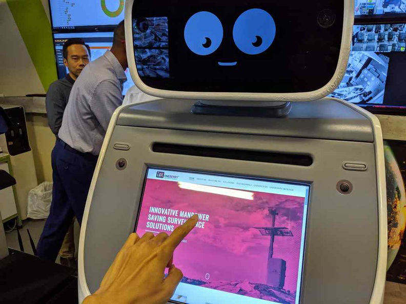 Interacting with Roboguard's front panel as an information kiosk