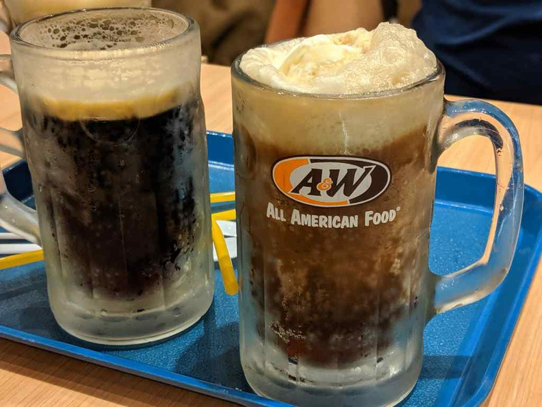 The root beer served in a chilled frosty mug