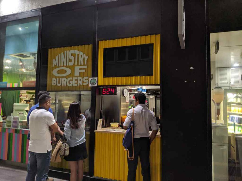 The front ordering counter of Ministry of Burgers. Great for people on the go where you can order your burgers in a takeaway style from the hole in the wall
