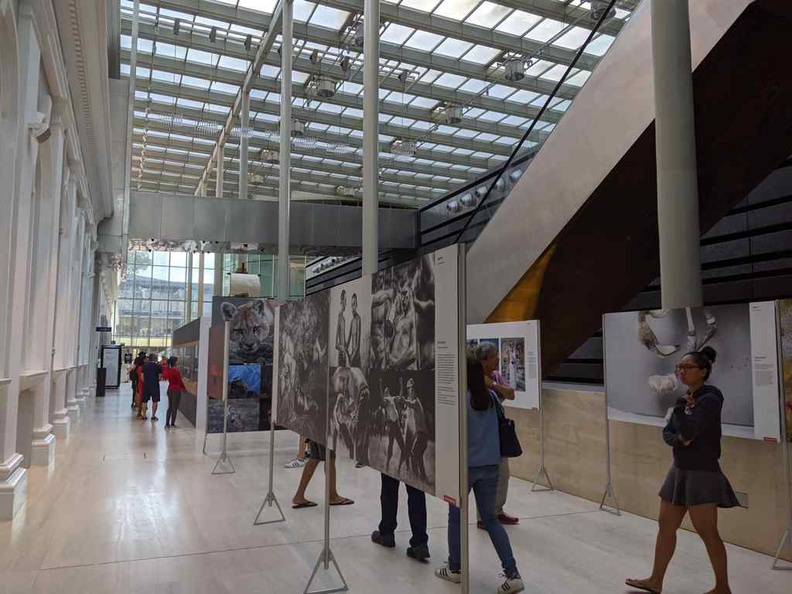 One half of the photo exhibition at the National Museum of Singapore along the museum common foyer