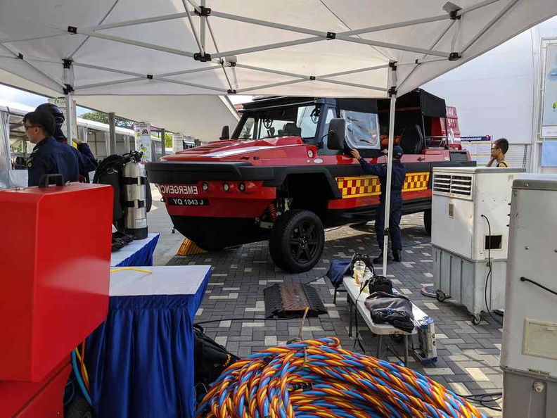 The Singapore Civil Defence Force dedicated outdoor booth areas showcasing their DART amphibious rescue vehicle and various equipment of the trade