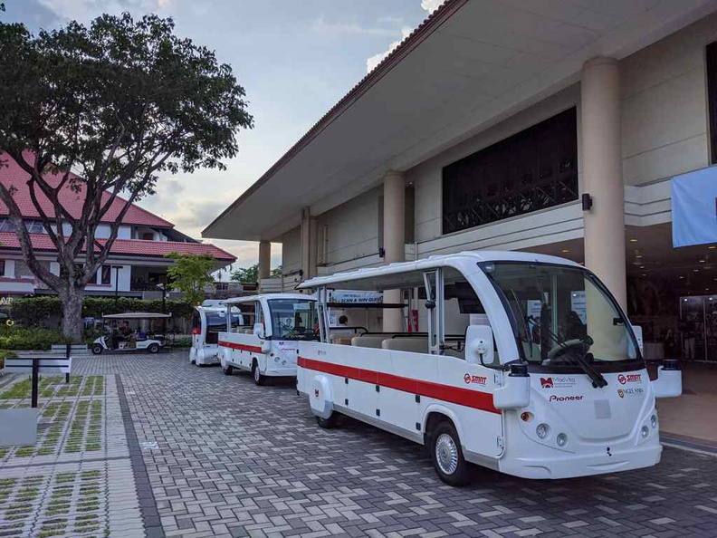 The SMRT autonomous transport vehicles you can ride at the event. They are operated by private company MooVita