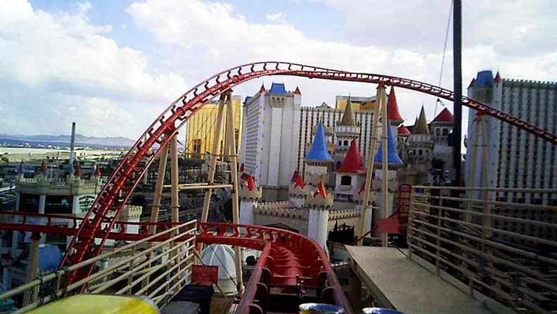 Brake run in the mid section of the winding course, with Excalibur hotel in view
