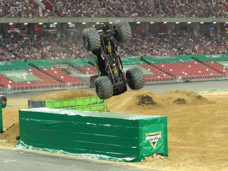 Monster Energy doing the spectacular 360 dumpster jump, landing back on 4 wheels and securing the first place win
