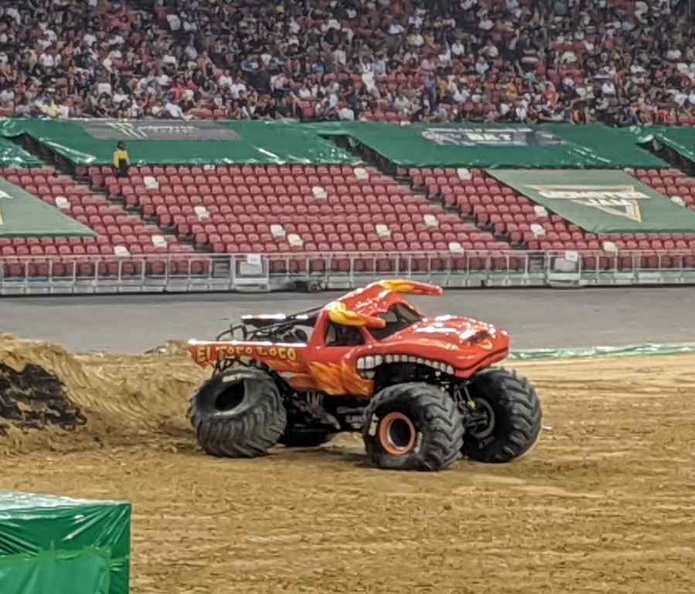 An injured bull (El Toro Loco) driven by Marc McDonald after the free style event