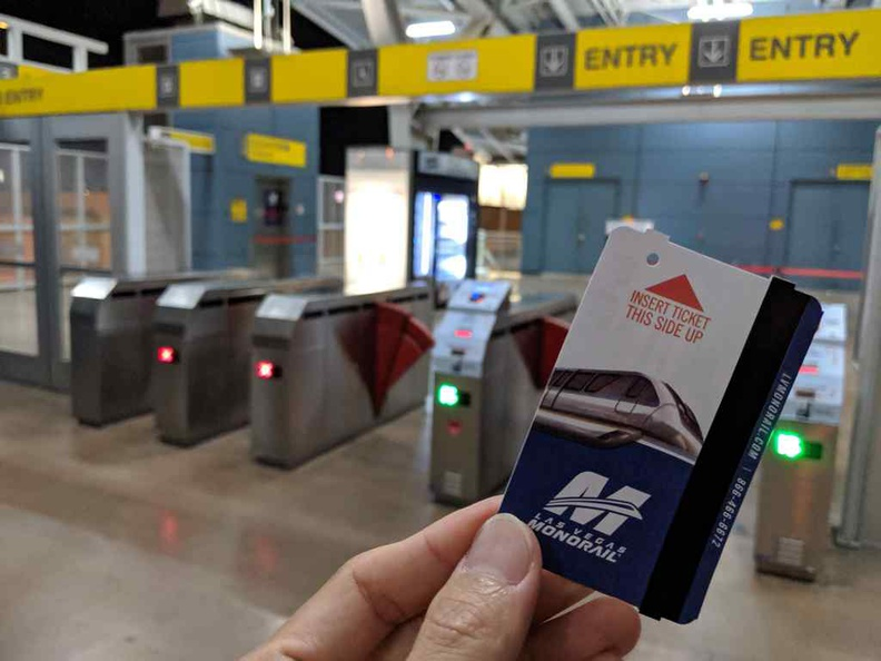 Your monorail ticket for a $5 flat fee with no distance limitations