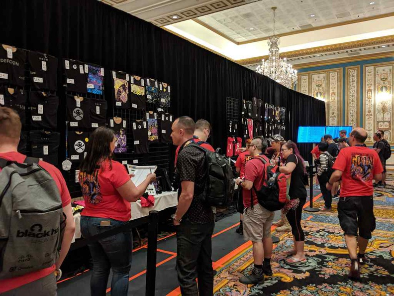 Inside the DEFCON Swag store. Everything here sells out pretty quick