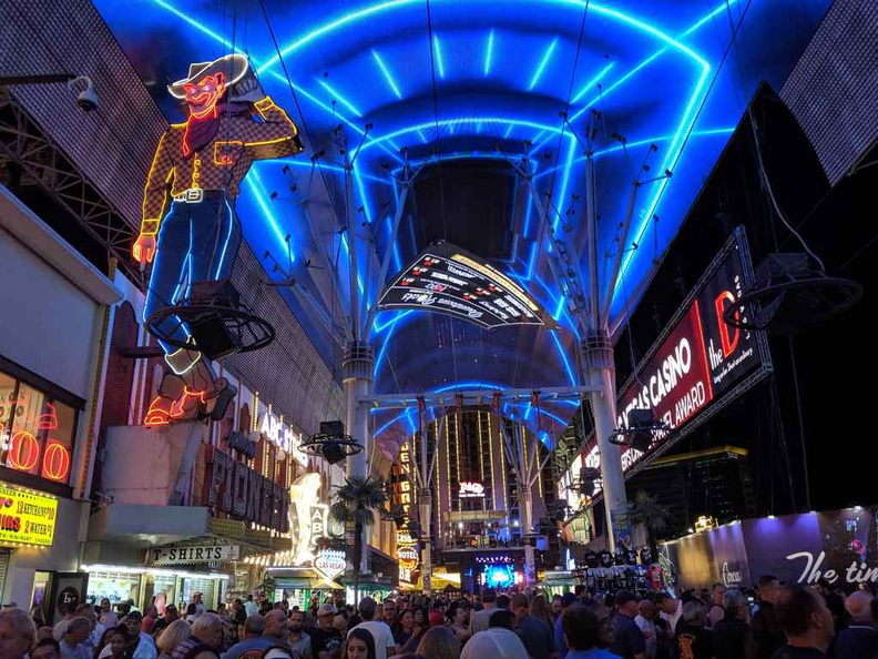 Fremont Street Viva Vision animated screen with the Vegas-iconic animated neon cowboy.