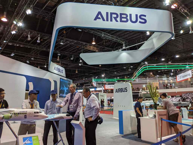 Airbus booth is one of the few operating on public and trade airshow days too