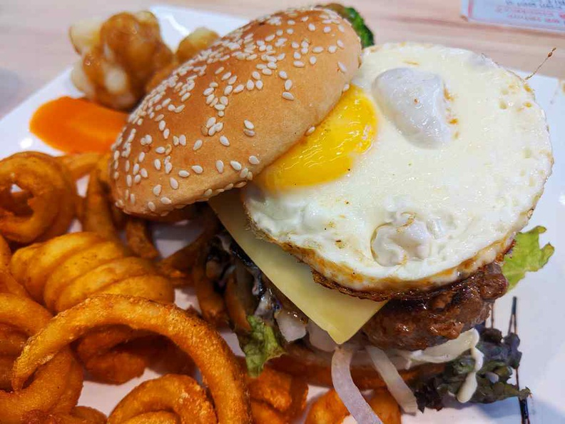 Fried Chicken Har Cheong Kai burger with a good serving of recommended crispy curly fries