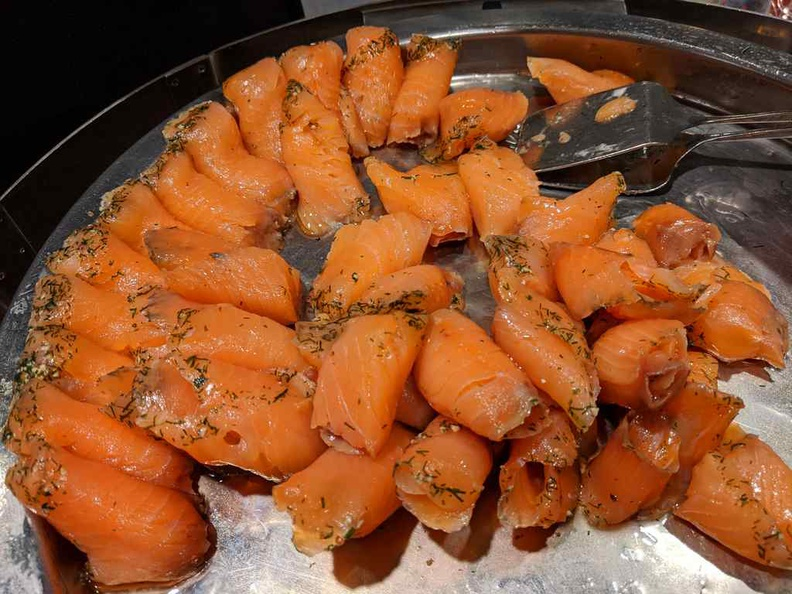 Smoked salmon on platters