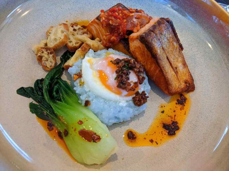 Lorez Aburi glazed salmon mains, a recommended potpourri of salmon, congee and vegetables