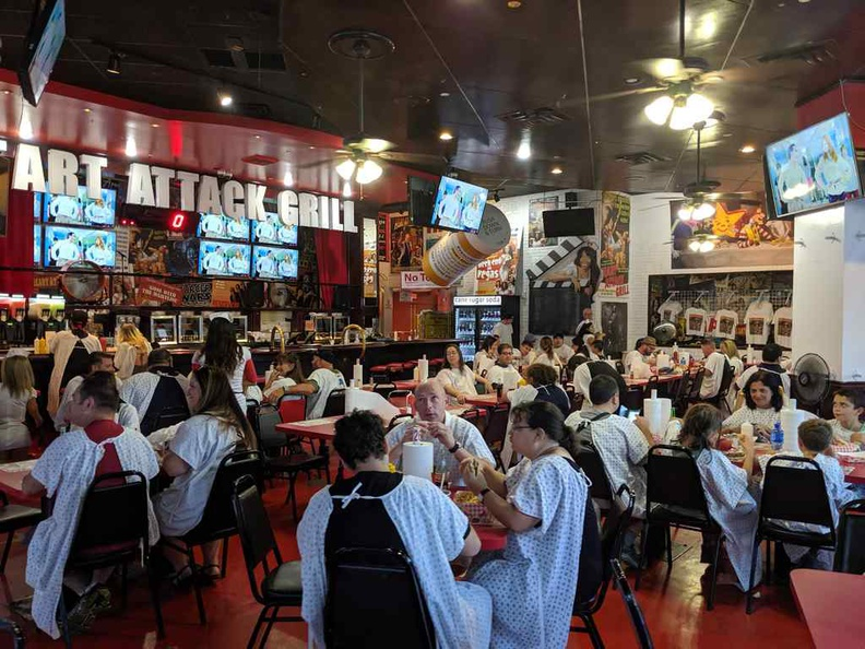 Inside the Heart attack grill restaurant. Note how everyone is dressed in gowns.