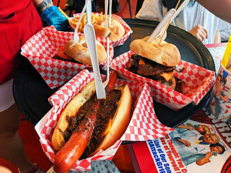 Burgers and hotdogs, the mainstay selections of Heart attack grill Fremont Vegas