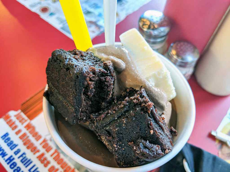 A choice of Chocolate, Vanilla or strawberry milkshakes ($6.23), served with brownie cubes and a cube of rich butter
