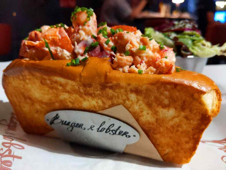 Lobster Roll ($40) fresh lobster on Burger and Lobster's own signature toasted brioche roll