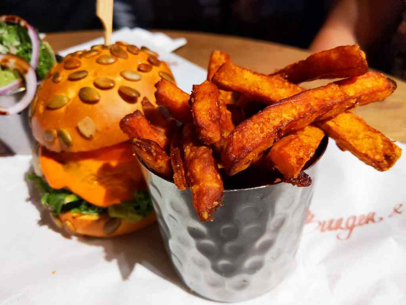Burger and lobster crispy, thick cut but not oily sweet potato fires, which comes with your impossible burger as standard