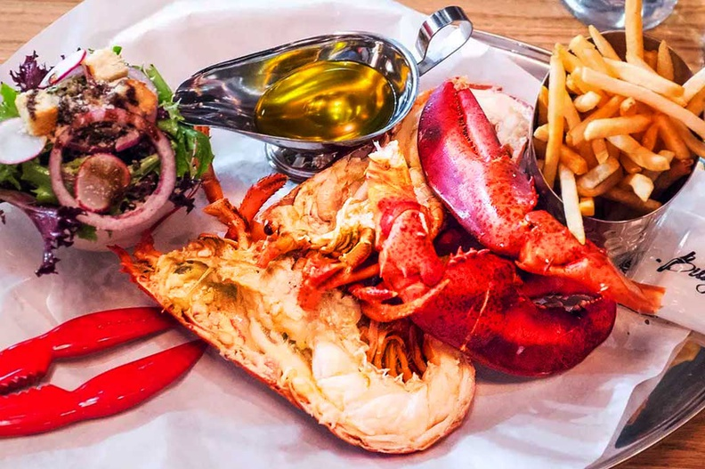 You can have your live Canadian lobster steamed or grilled with a choice of clarified butter