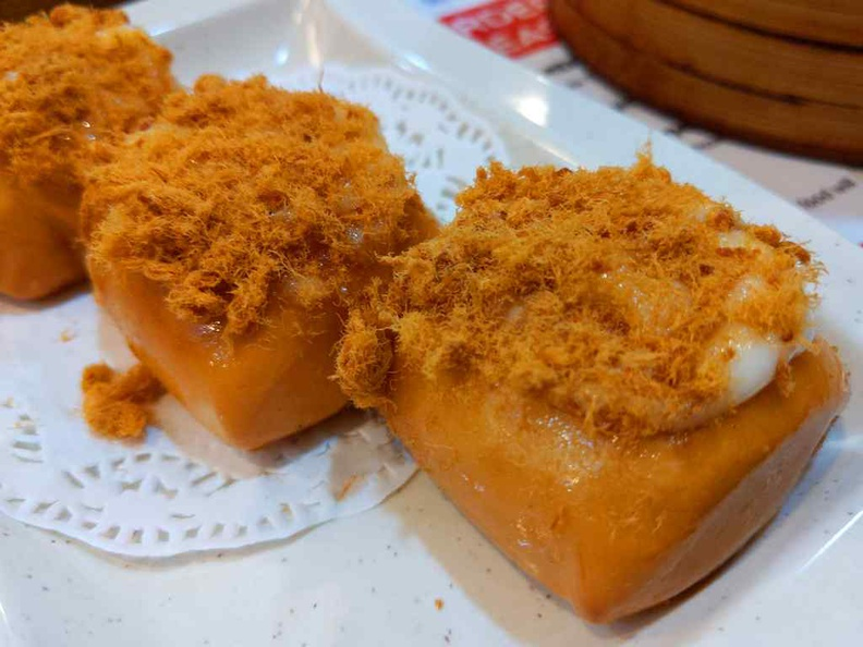 Man Tou with Chicken floss and Mayonnaise 3 pieces at $3.90