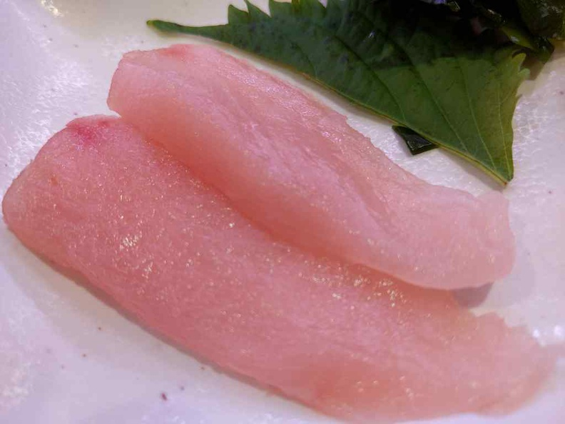 Albacore Tuna ($3.20), a rather interesting soft tuna which breaks apart in your mouth. It is quite a joy