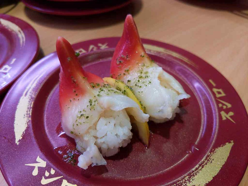 Sushiro sushi Crab claw-like looking surf clam ($2.20)