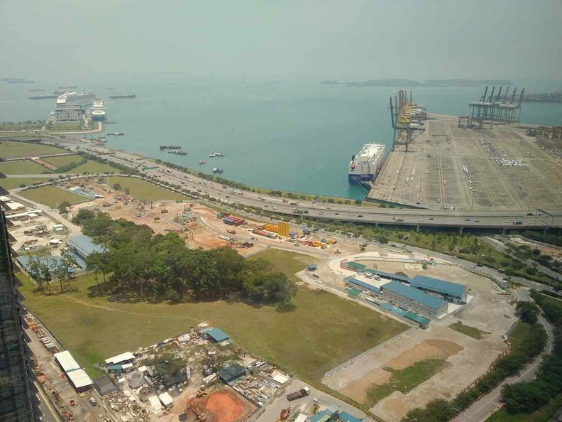 Tanjong Pagar container port and the marine coastal expressway viewable from the restaurant