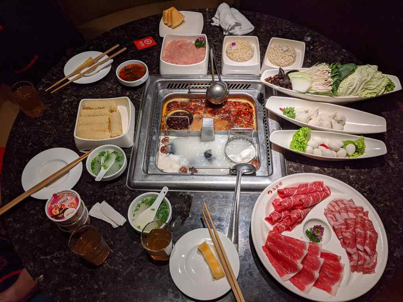 A typical hotpot setting.