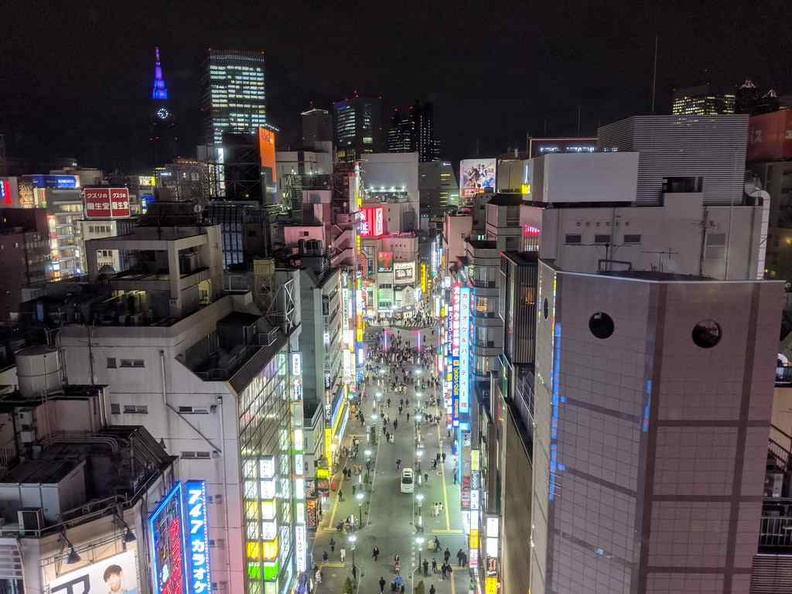 Shinjiku Godzilla street from the top of the hotel building