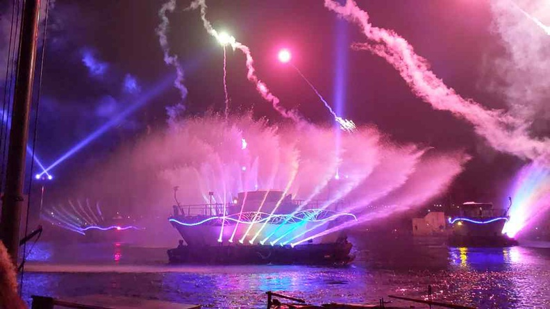Fantasmic runs every night and is a huge water, light and pyrotechnics show at the park's central lake