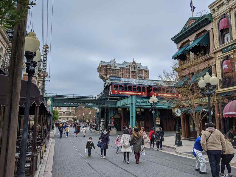 American waterfront area and trolley transport