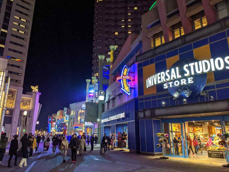 Universal broad walk Street lit at night