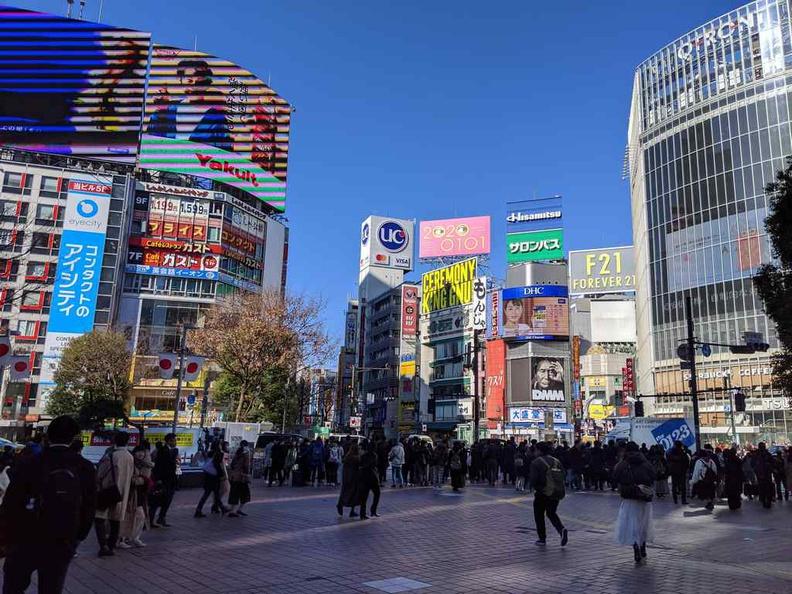 The giant scramble crossing at Shibuya Tokyo