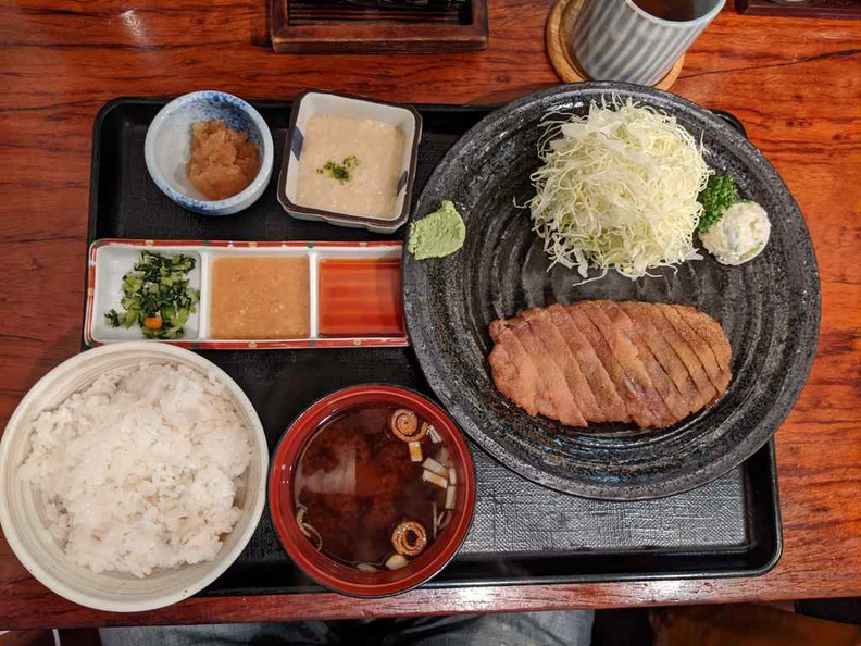A typical set meal served to all customers at Gyukatsu Ichi Ni San