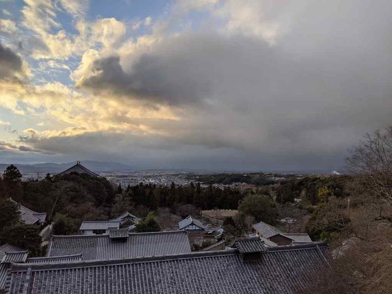 View of Nara park Japan city from Todaiji Nigatsudo