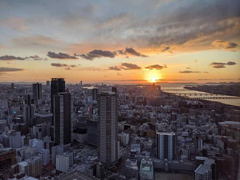View of Osaka city from Udmeda sky building at sunset
