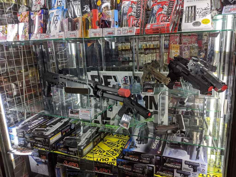 Airsoft guns and equipment on sale here in Donki Osaka
