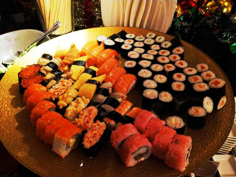 Sushi and Maki platters are replenished regularly but has quite a limited selection as pictured