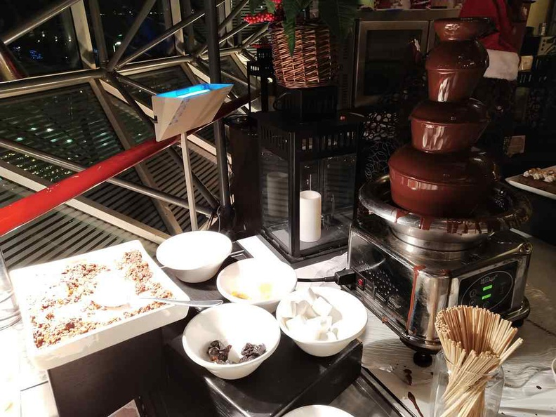 Got dessert fondue? Complete with accompanying marshmallows and sweets